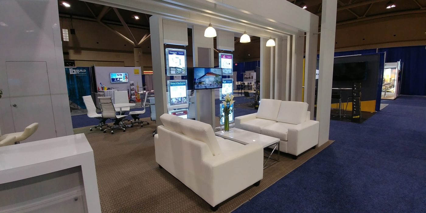 Trade Show Booth Lounge : One properties u maverick exhibits u custom trade show exhibit design
