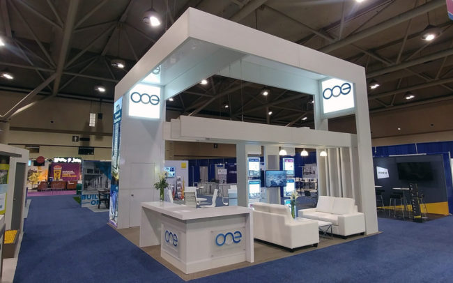 ONE trade show booth front view