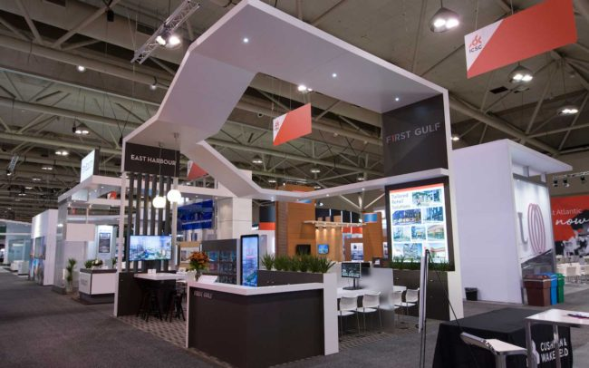 Front view of First Gulf trade show booth at ICSC show in Toronto